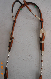 Headstall with Silver Plated Buckles & Ferrules -- Two Ear