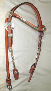 Headstall with Silver Plated Buckles & Ferrules -- Browband