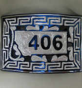 Rectangular Steel w/ Silver Inlay Belt Buckle with Blued Finish with Special Design - Solid Work