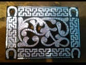 Rectangular Steel w/ Silver Inlay Belt Buckle with Black Finish with horseshoe Design - Open Work