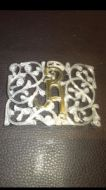 Rectangular Stainless Steel w/ Silver Overlay Belt Buckle  with Floral Design - Open Work