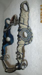 Circle with Beads & Crescent GERMAN SILVER Inlay Straight Shank Bit  aka Santa Barbara Bit- Blued