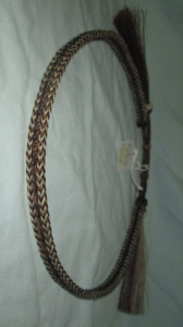 HORSEHAIR HAT BAND - 3 STRANDS -- BROWN & WHITE