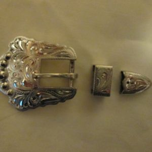 "#504 German Silver 3-piece Buckle Set -- for 1/2"" strap"