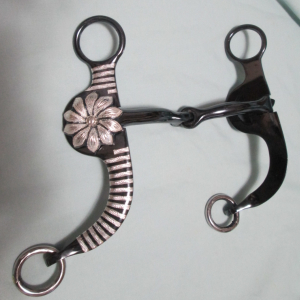 Argentine Snaffle - Stripes & with Daisy Concho w/ Silver Inlay - Black