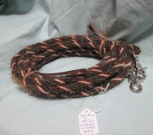 Split Reins (Mane Horsehair) - with SNAPS in BARBER POLE (striped) Patterns
