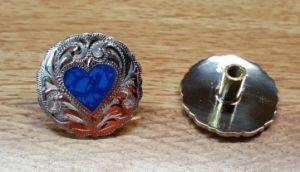Heart - Turquoise Conchos with Chicago Screw