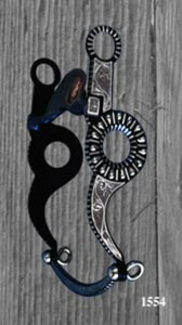 Circle with Stripes & Tear Drops Silver Inlay Bit - Blued