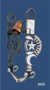 Star, Bars, Beads & Crescent Silver Inlay Straight Shank Bit -Patina