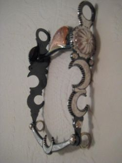 Double Crescent with a Concho Silver Inlay Bit - Black